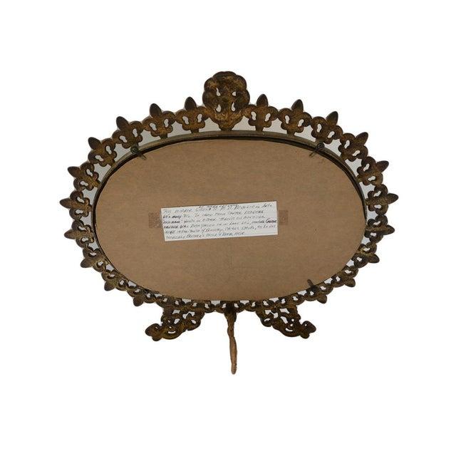 Antique brass standing vanity mirror chairish for Antique standing mirror