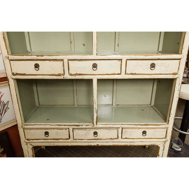 Chinese Cream Lacquered Open Shelf Cabinet - Image 5 of 6