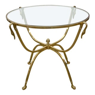 Italian Brass and Glass Swan Motif Table in the Style of Jansen