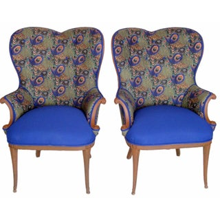 Victorian Peacock Wing Chairs - A Pair