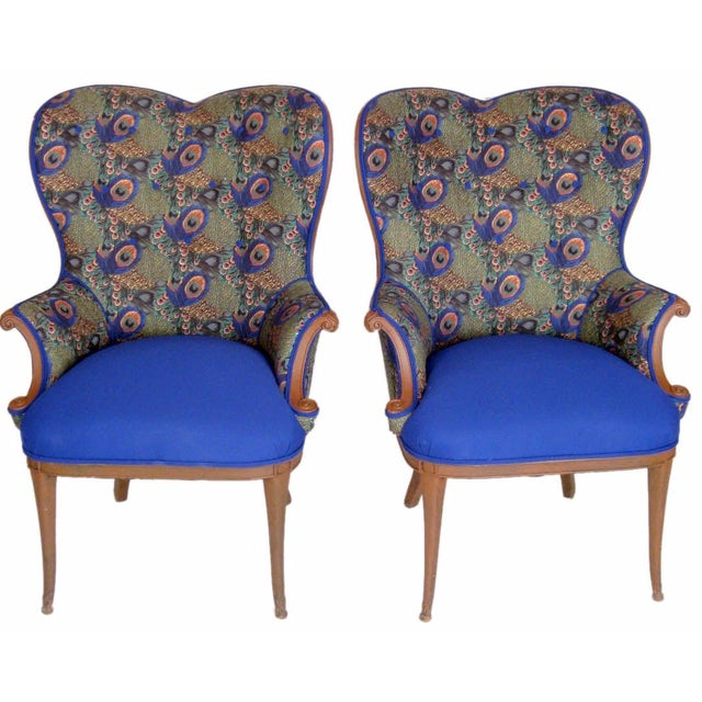 Victorian Peacock Wing Chairs - A Pair - Image 1 of 5