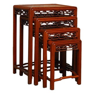 Chinese Carved Hardwood Nesting Tables - Set of 4
