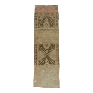 Vintage Turkish Washed Out Brown Runner Rug - 3′11″ × 12′8″