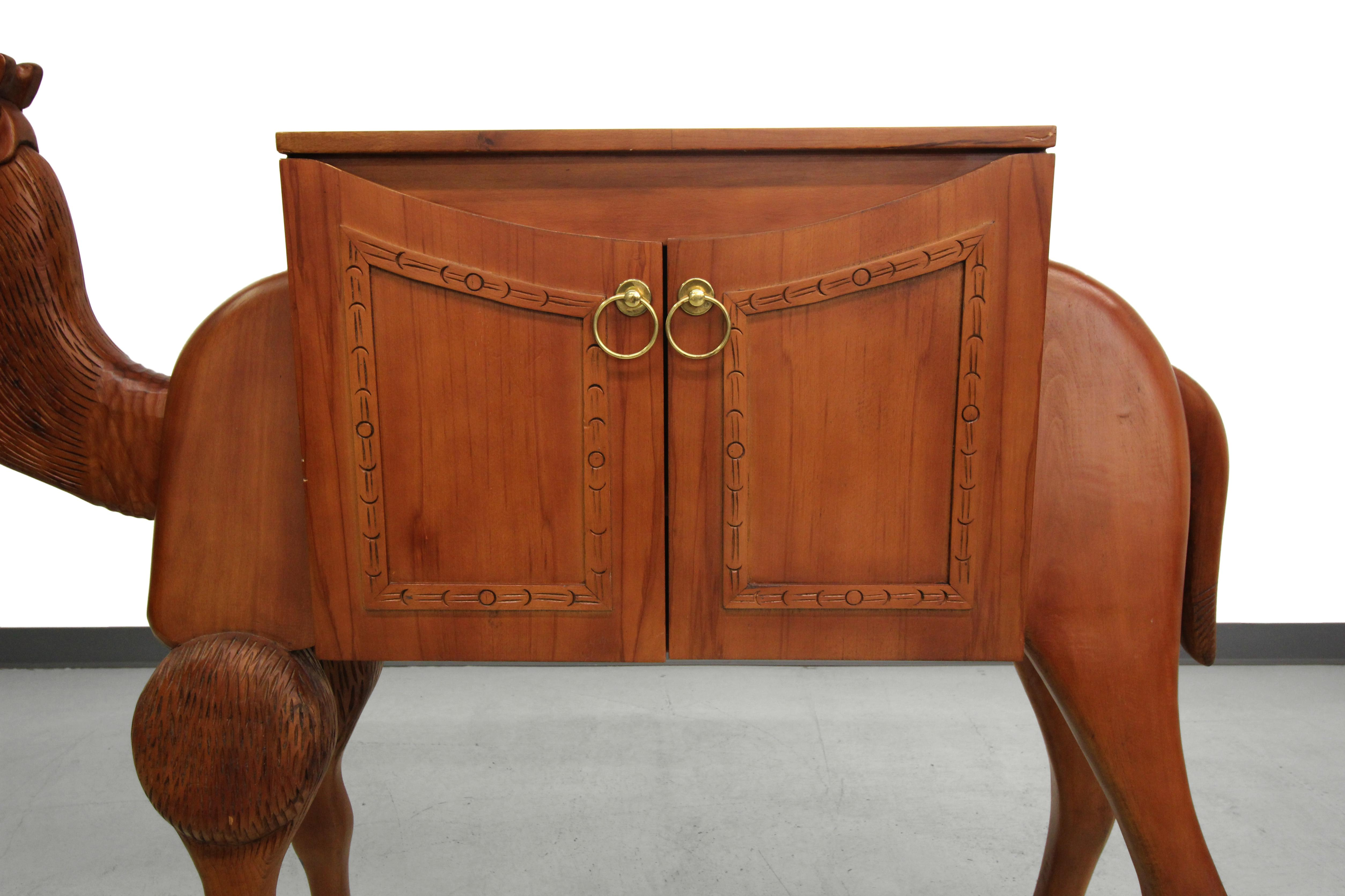 Vintage Hand Carved Turkish Camel Liquor Cabinet Bar   Image 5 Of 10