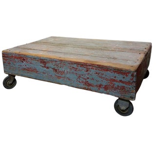 Industrial Painted Gray and Red Cart