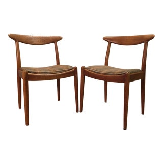 Hans Wegner W2 Oak Dining Chairs - A Pair