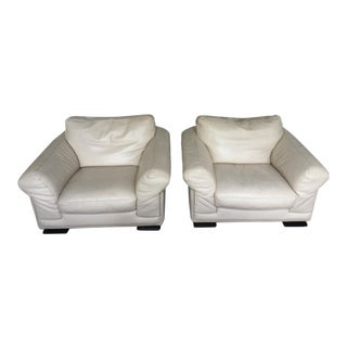 Roche Bobois Tenderness Leather Armchairs - A Pair