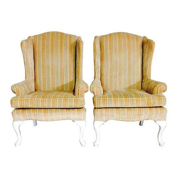 Image of 1970s Slipcover White Wingback Chairs- A Pair