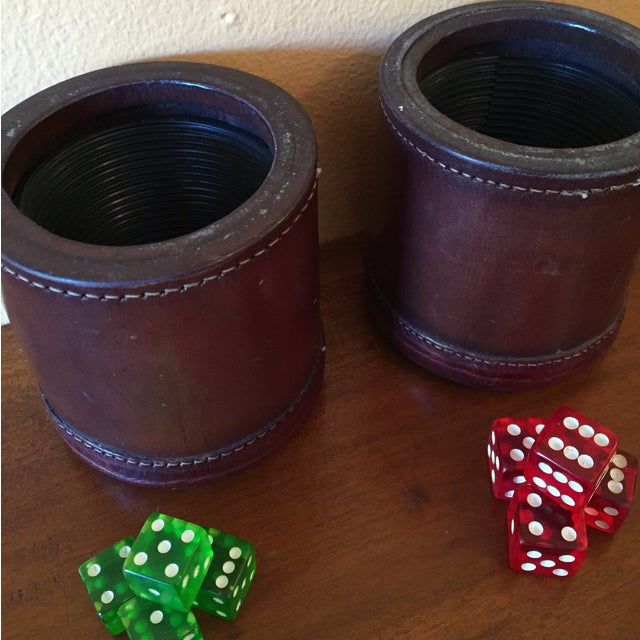 Leather Dice Cups with 8 Bakelite Dice - A Pair - Image 4 of 7
