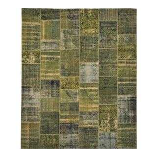 "Turkish Over-Dyed Green Patchwork Rug - 8'2"" X 9'11"""