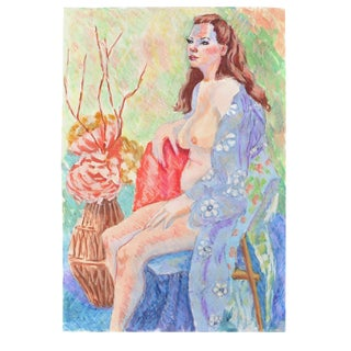"Esther Akrish ""Nude With Blue Flowered Robe"" Original Mixed Media"