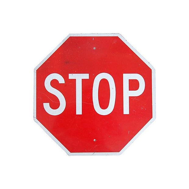 Image of Large 1970s Metal Stop Street Sign