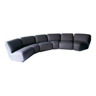Vintage Knoll Charcoal Linen Modular Sofa