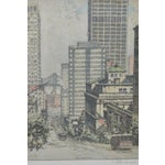 Image of 1950's San Francisco Cable Car Colored Etching