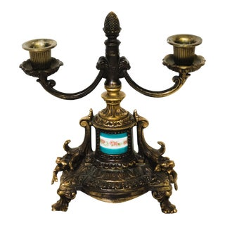 Antique Brass and Sevres Style Porcelain Candelabrum