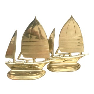 Brass Sailboat Bookends - Set of 2