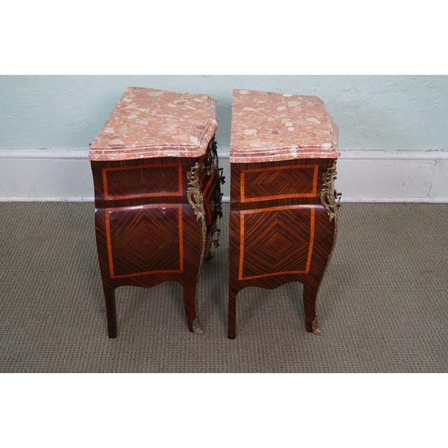 French Louis XV Marble Top Bombe Chests - 2 - Image 3 of 10