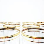 Image of Mid-Century Modern Gold Rimmed Drinking Glasses