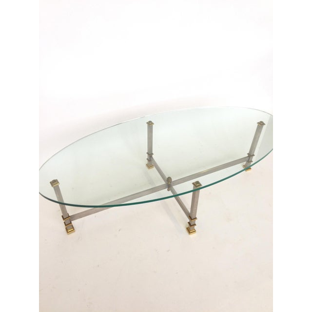 Maison Jansen Style Chrome & Brass Coffee Table - Image 4 of 6