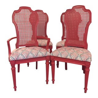 Vintage Dark Pink Cane Back Dining Chairs - Set of 4
