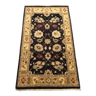 """Handmade Wool Pishavari Black Rug - 3' x 5'5"""""""