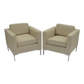 Italian Sandstone Linen Club Chairs - Pair