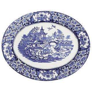 English Blue & White Chinoiserie Platter