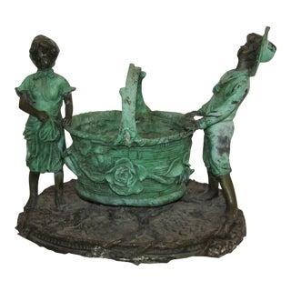 Signed Bronze Figural Planter Basket