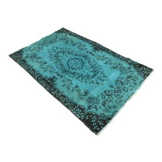 Cyan Overdyed Turkish Hand Knotted Rug - 3′10″ X 6′1″