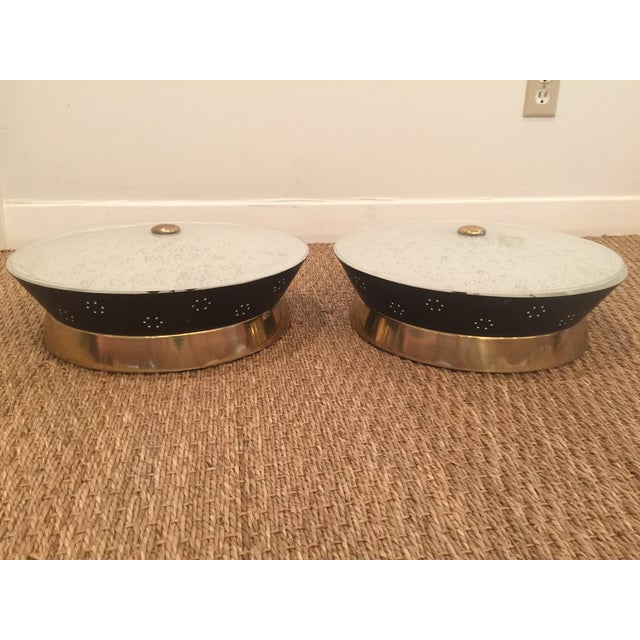 Atomic Mid-Century Modern Flush Mounts - A Pair - Image 2 of 8