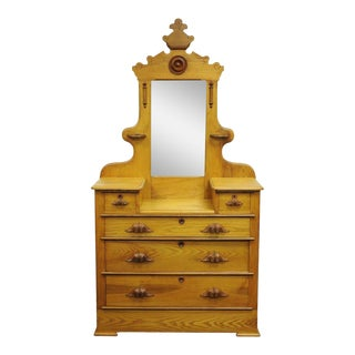 Antique Victorian Eastlake Carved Dresser Chest with Mirror