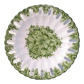 Vintage Portuguese Green Floral Serving Plate