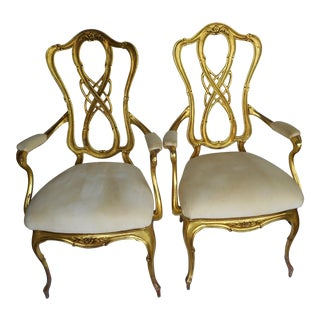 French Rococo Cast Aluminum Chairs- a Pair