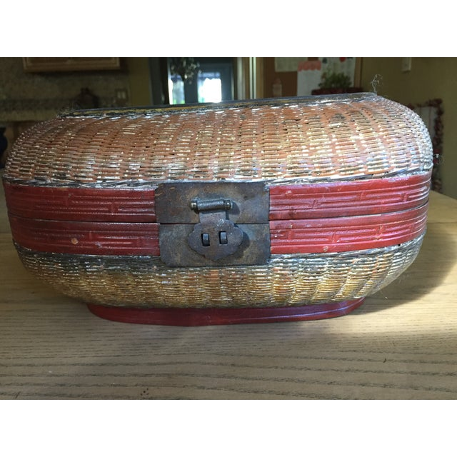 Vintage Chinese Bamboo Sewing Basket - Image 2 of 11