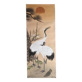 Vintage Japanese Crane Painting