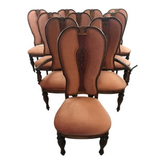 Antique Victorian Walnut Dining Chairs - Set of 10