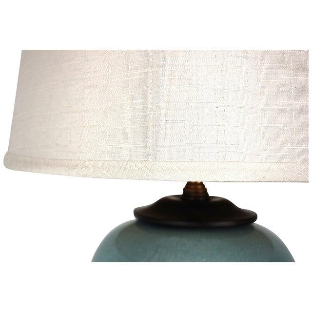 Image of Vintage Blue Ceramic Crackle Lamp
