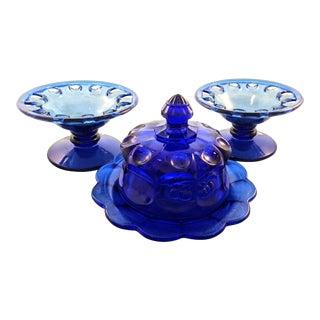 Depression Glass Cobalt Pedestal Bowls & Covered Dish