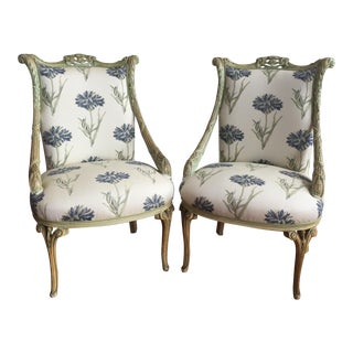 Renaissance Revival Style French Patina Armchairs - A Pair
