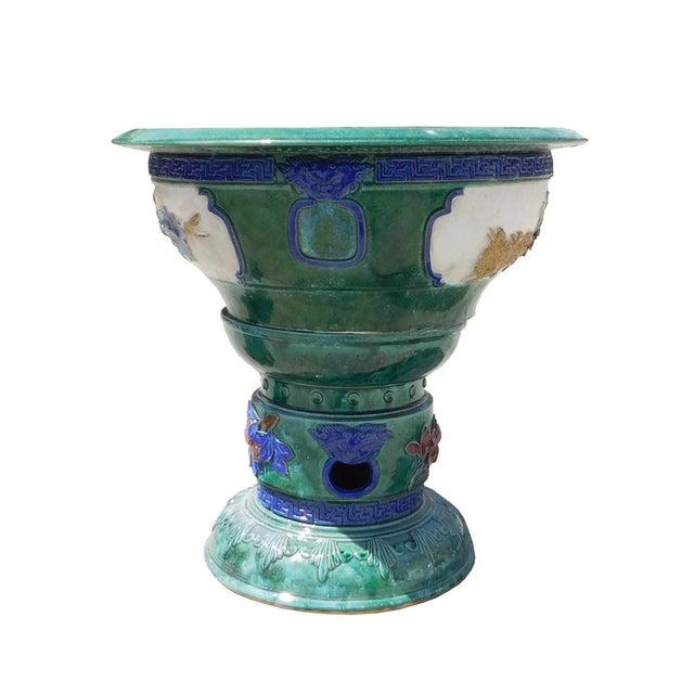 Green clay ceramic round pedestal planter pot chairish - Ceramic pedestal table base ...