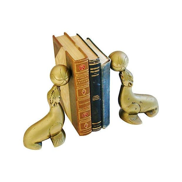 Vintage 1950s Brass Seal Bookends - A Pair - Image 2 of 6