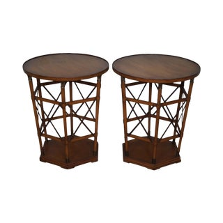 Regency Style Round Cylinder Brass Accent Side Tables - A Pair