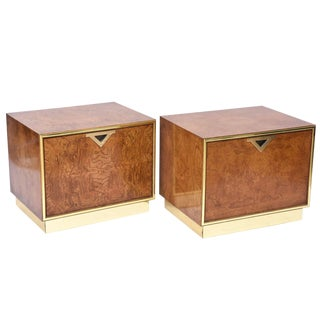 Pair of American Modern Burl Walnut and Brass End Tables
