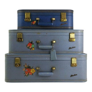 Vintage Suitcase Stack - Set of 3