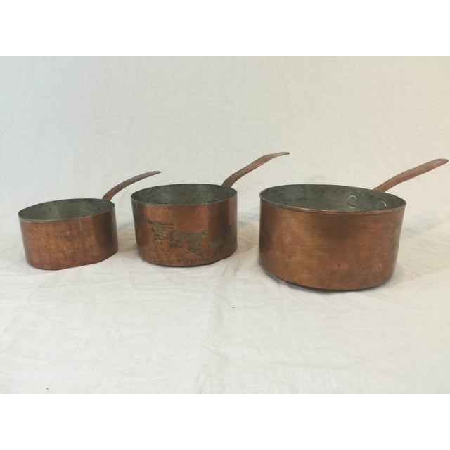 Antique Copper Pots with Dovetailing - Set of 3 - Image 2 of 10