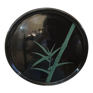 Vintage Black and Green Bamboo Lacquered Tray