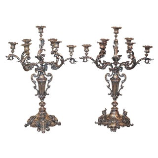 Pair of Continental Silvered Candelabra
