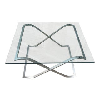 Barcelona Style X-Base Coffee Table in Stainless Steel and Glass
