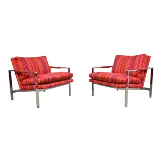 Milo Baughman Pair of Chrome Flat Bar Lounge Chairs