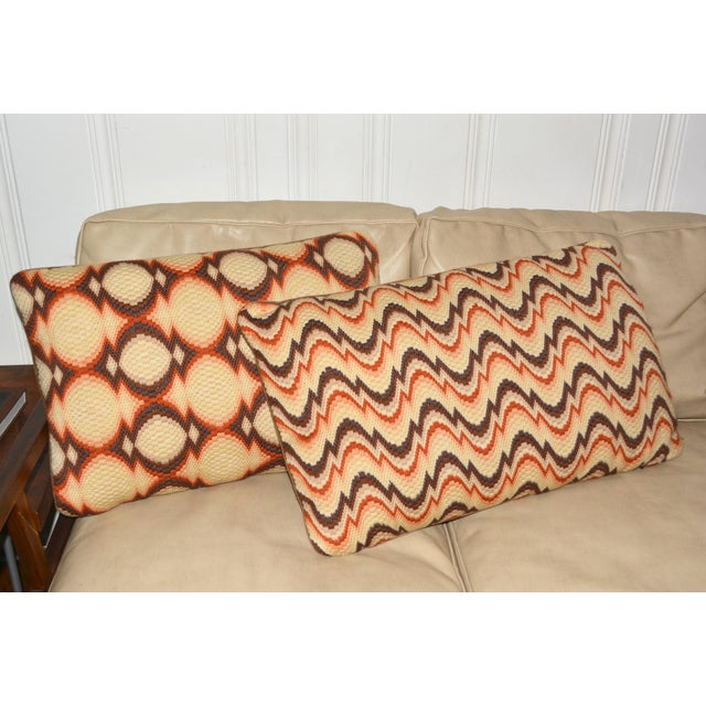 1970s Needlepoint Geometric Pillows - a Pair - Image 7 of 7